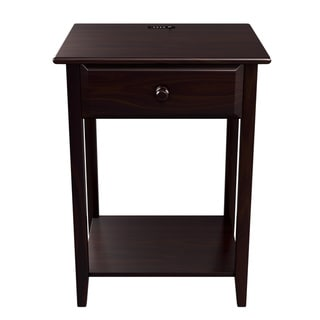 "Quality Furniture Espresso Night Stand with Drawer and USB Port (17"" Wide)"
