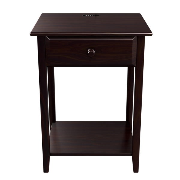 "Quality Furniture Espresso Night Stand with Drawer and USB Port (17"" Wide). Opens flyout."