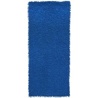 Blue Shag Rugadelic Chenille Twist Shag Rug Runner (2'x5')
