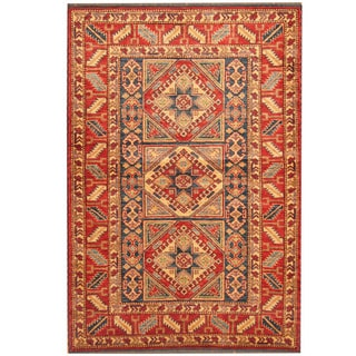 Herat Oriental Afghan Hand-knotted Kazak Red/ Blue Wool Rug (4' x 5'10)