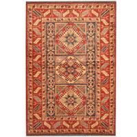 Herat Oriental Afghan Hand-knotted Kazak Red/ Blue Wool Rug (4' x 5'10)