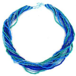 Handmade 12-Strand Beaded Necklace - Blue & Green (Guatemala)