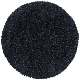 Black Shimmer Shag Rug (3'x3')