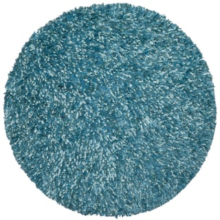 Aqua Shimmer Shag Rug (3'x3')