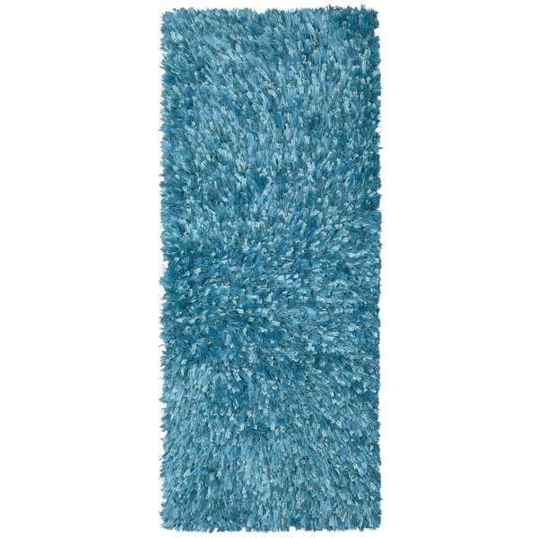 Plush Shimmer Rug: Shop Aqua Shimmer Shag Rug Runner (2'x5')