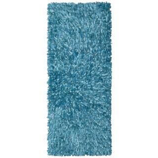 Aqua Shimmer Shag Rug Runner (2'x5')
