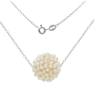 DaVonna .925 Sterling Silver Chain Necklace with 15-16mm Snowball Design White Freshwater Cultured Pearl as Pendant