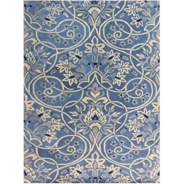 Shop Persian Oriental New Zealand Wool Area Rug: Shop Hand-tufted Denim Blue Blended New Zealand Wool Area