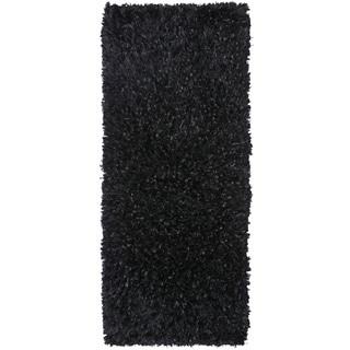 Black Shimmer Shag Rug Runner (2'x5')