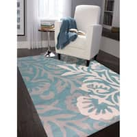 """Hand-tufted Teal Blended New Zealand Wool Area Rug - 7'6"""" x 9'6"""""""