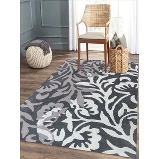Hand-Tufted Gabriel Charcoal Blended New Zealand Wool Area Rug, (7'6x9'6)