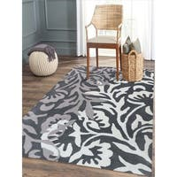 "Hand-tufted Charcoal Blended New Zealand Wool Area Rug, - 7'6"" x 9'6"""