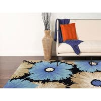 "Hand-tufted Ebony Blended New Zealand Wool Area Rug - 7'6"" x 9'6"""