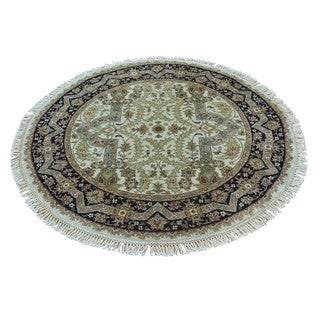 Pure Wool Round Tabriz Revival Hand Knotted Oriental Rug (4' x 4')