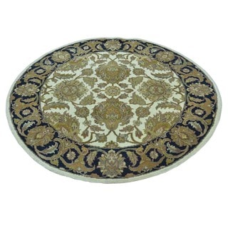 Thick And Plush Hand Knotted Pure Wool Round Rajasthan Rug (4' x 4')