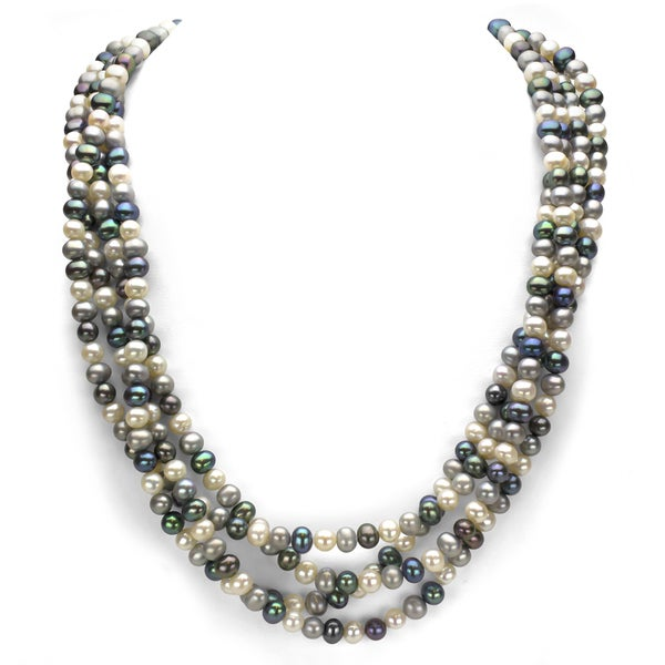4384275fefea9b DaVonna Dark Multi-colored Freshwater Pearl 100-inch Endless Necklace (6-7mm