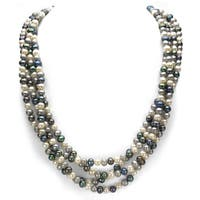 DaVonna Dark Multi-colored Freshwater Pearl 100-inch Endless Necklace (6-7mm)
