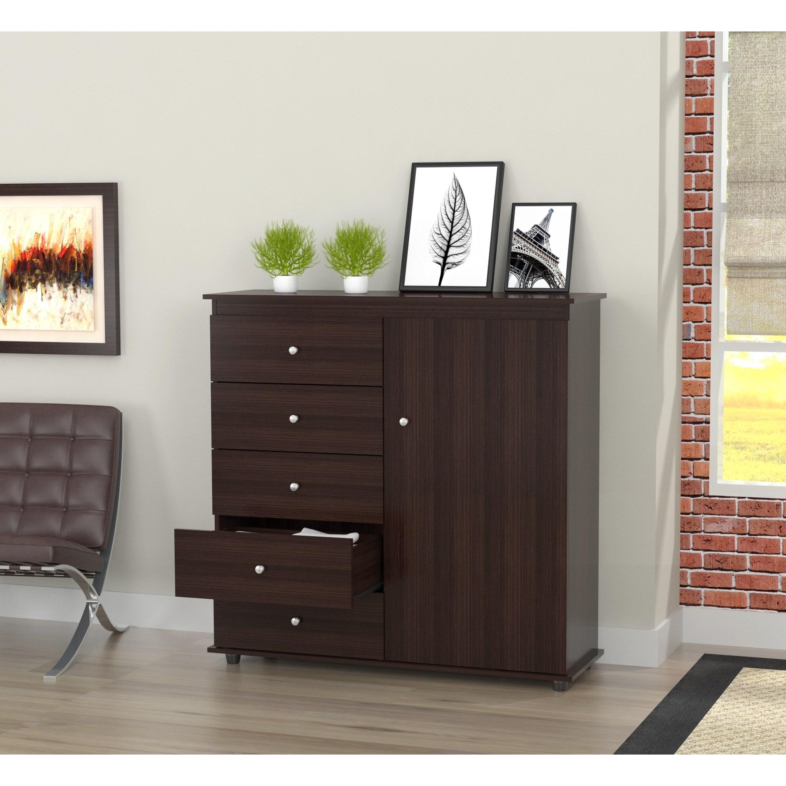 Inval Espresso-Wenge Armoire/ Dresser Combo