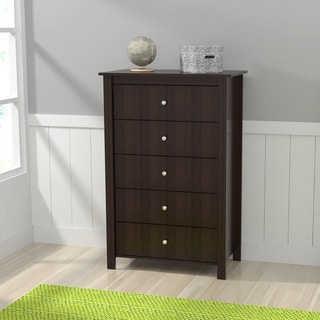 Inval Espresso-Wenge Finish Five Drawer Dresser