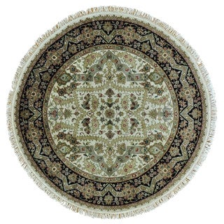 Hand Knotted Pure Wool Round Tabriz Revival Oriental Rug (5' x 5')