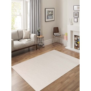Hand-Woven Broadmoor Ivory Wool and Cotton Durry Area Rug (5' x 8')