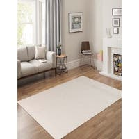 Hand-Woven Broadmoor Ivory Wool and Cotton Durry Area Rug - 5' x 8'