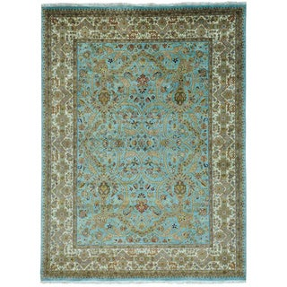 Pure Wool Sky Blue Tabriz Revival Hand Knotted Rug (9' x 11'10)