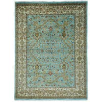 Pure Wool Sky Blue Tabriz Revival Hand Knotted Rug (9' x 11'10) - 9' x 11'10