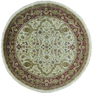 Round Tabriz Revival Pure Wool Hand Knotted Oriental Rug (9' x 9')