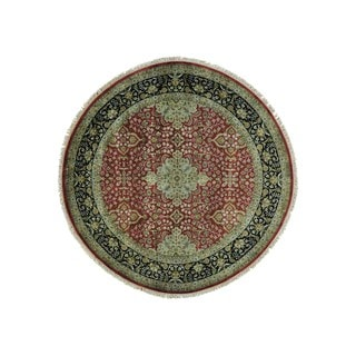 New Zealand Wool Round Kashan Revival 300 KPSI Oriental Rug (8' x 8')