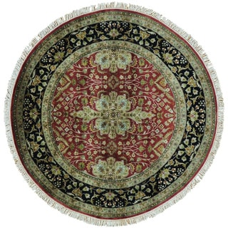 Kashan Revival Round 300 KPSI New Zealand Wool Handmade Rug (5' x 5')