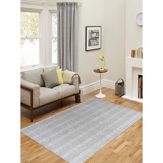 Hand-Woven Broadmoor Gray Wool and Cotton Durry Area Rug (5' x 8')