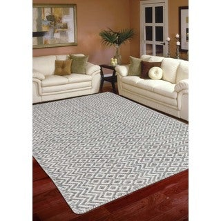 Hand-Woven Broadmoor Silver Wool and Cotton Durry Area Rug (5' x 8')