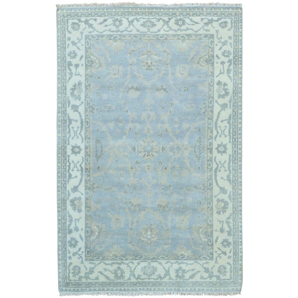 Sky Blue Hand Knotted Oushak Pure Wool Oriental Rug - 6' x 9'