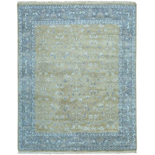 Hand Knotted Gold Oushak Pure Wool Oriental Rug (8'3 x 10')