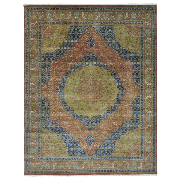 Antiqued Tabriz Vegetable Dyes 300 KPSI Oversize Rug - Brown/Blue - 12' x 15'