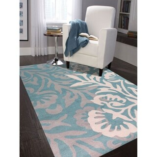 Hand-tufted Teal Blended New Zealand Wool Area Rug, (5'x8') - 5' x 8'