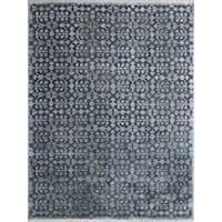 Hand-Woven Lorma Mar Water Blue Handspun Wool and Art Silk Area Rug (6'x9') - 6' x 9'
