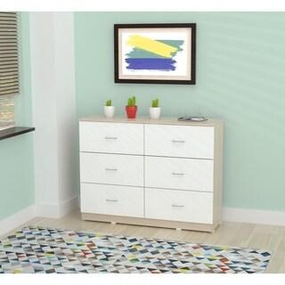 Inval Laura Laricina-White/ Beech Six Drawer Dresser