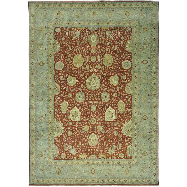 Antiqued Tabriz Lamani 300 KPSI Hand Knotted Oriental Rug (10' x 14'3)