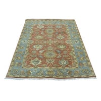 Antiqued Sultanabad Hand-knotted Pure Wool Oriental Rug (4' x 5'2)