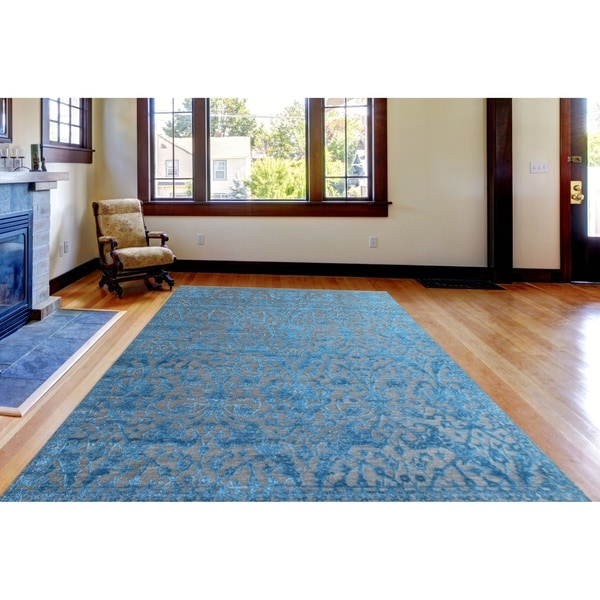 Teal Woven Rag Rug: Shop Hand-Woven Lorma Mar Teal Handspun Wool And Art Silk