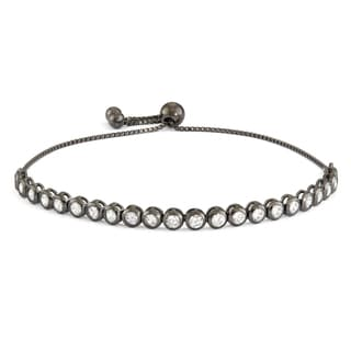 Gioelli Black Rhodium Silver Cubic Zirconia Adjustable Bracelet