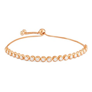 Gioelli Rose Goldplated Silver Cubic Zirconia Adjustable Bracelet