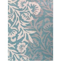 Hand-tufted Teal Blended New Zealand Wool Area Rug - 3'6 x 5'6