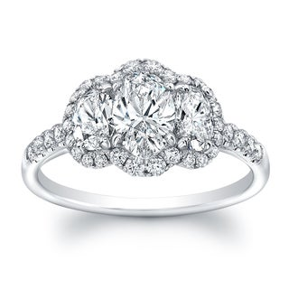 18k White Gold 1 3/5ct TDW Diamond Oval Shape 3-stone Ring (G-H, VS1-VS2)