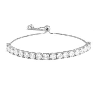 Gioelli Sterling Silver Cubic Zirconia Adjustable Bracelet