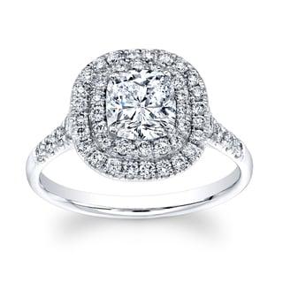 18k White Gold 1 1/6ct TDW Diamond Cushion Halo Ring (H-I, VS1-VS2)