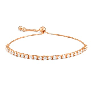 Gioelli Rose Gold over Silver Cubic Zirconia Adjustable Bracelet