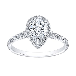 18k White Gold 1 1/4ct TDW Diamond Pear-shape Halo Ring (G-H, VS1-VS2)